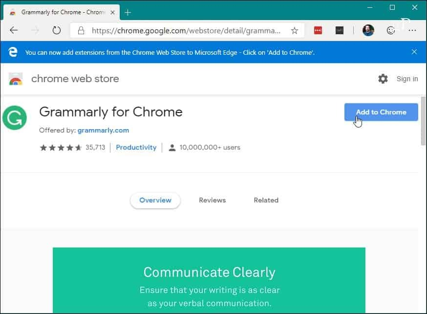 5 Instalirajte Chrome Edge Chrome web-trgovinu